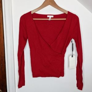 Leith Rib Wrap Lightweight Sweater in Red Chili